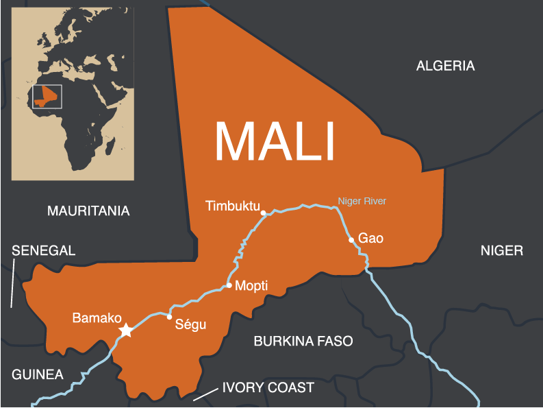 Map showing the location of Mali in Africa