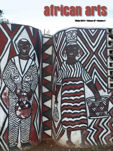 magaizne cover featuring a mural of African art.